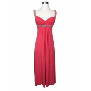 Cachet Coral Formal Empire Waist Beaded Dress